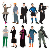 Different jobs and uniforms — Stockvector