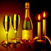 香槟和蜡烛 — 图库矢量图片