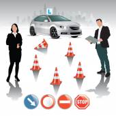 Driving course — Stock Vector