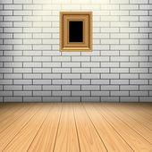 벡터에 대 한 백색 벽돌 벽 및 바닥 인테리어 룸 — 스톡 벡터 ...