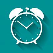 White alarm clock icon on blue background — Stock Vector