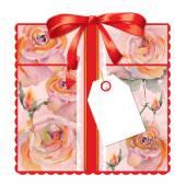Carte-cadeau avec des roses — Photo