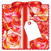 Gift card with roses — Stock Photo
