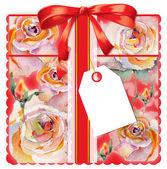 Geschenkkarte mit Rosen — Stockfoto