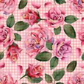 Seamless pattern with pink roses — Stock Photo