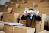 The student in a big class prepares for examination — Foto Stock