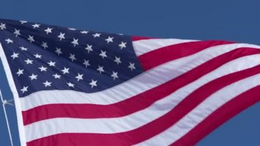United States flag blowing in the wind — Stock Video