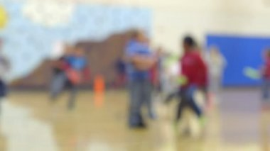 School children running and playing in gym class — Vídeo stock