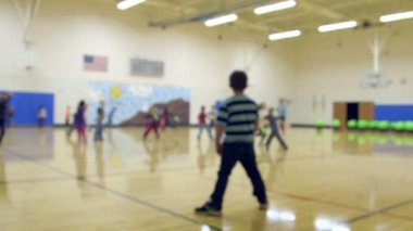 School children  in gym class. — Stock Video
