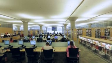 Patrons work on computers in library — Vídeo de Stock
