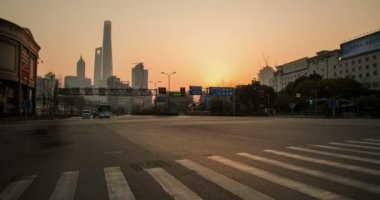 Sunset of Shanghai city — Stock Video