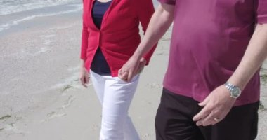 Senior couple walking on beach — Stock Video