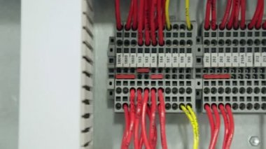 Wires connected to a component in an electronics factory — Stock Video