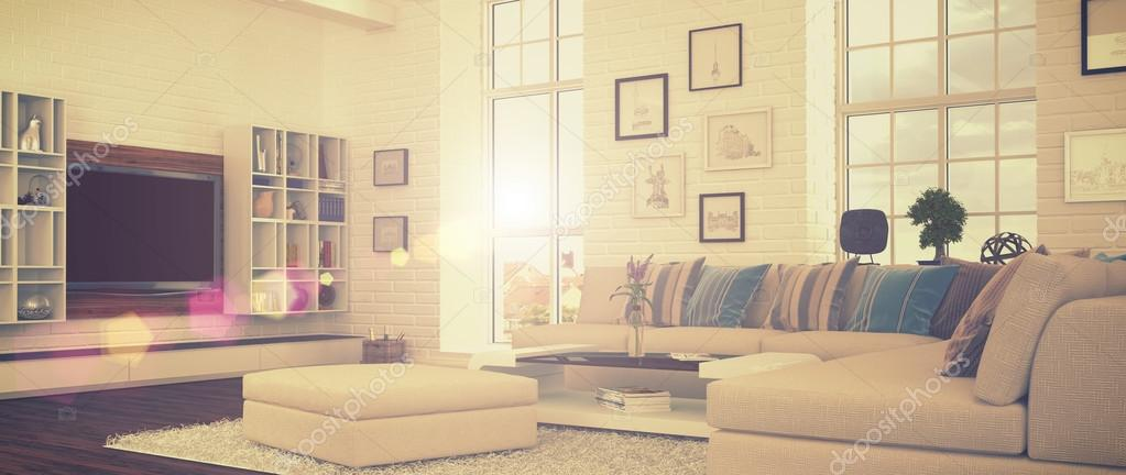 3d - moderne wohnzimmer - retro-style - shot 41 ? stockfoto ...