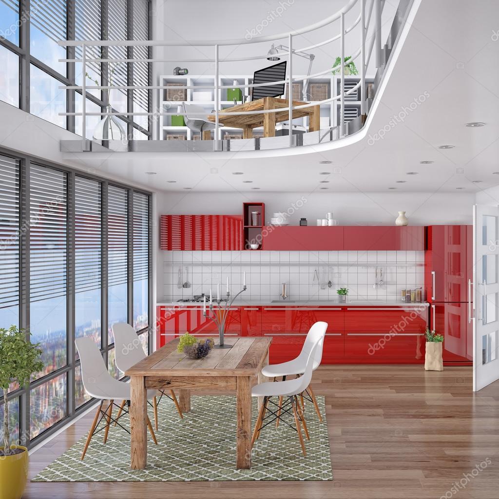 3d - modernes loft mit galerie, essbereich, küche — stockfoto, Hause ideen