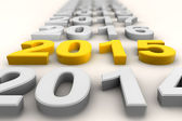 Render of the new year 2015 in yellow — Stock Photo