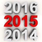 Rendering del nuovo anno 2015 in rosso — Foto Stock