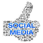 Duimschroef opwaarts teken gemaakt van sociale media symbolen — Stockfoto