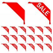 Red Ribbon Discount Labels — Stock Photo