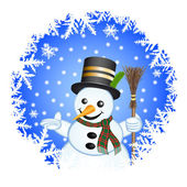 Snowman on a blue background — Stock fotografie