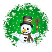 Snowman on a green background — Foto Stock