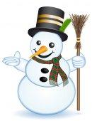 Sněhulák s ukazující ruka — Stock fotografie