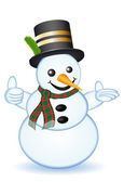 Thumb up snowman on white background — Foto Stock