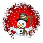Boneco de neve sobre um fundo vermelho — Foto Stock