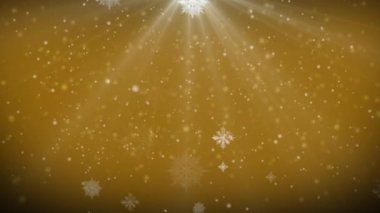 VID - falling snowflakes with golden background — Stock Video