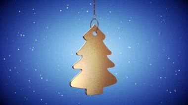 VID - Golden Christmas Tree Tag - Blue — Wideo stockowe