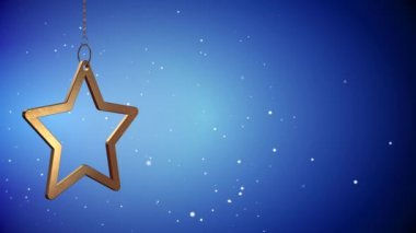 VID - Golden Christmas Star Tag - Blue - Copyspace — Stock Video