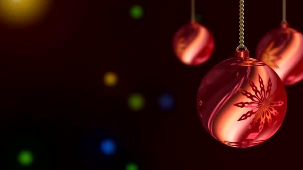 Vid - bolas de Navidad rojo — Vídeo de stock