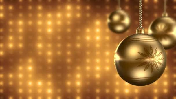 VID - Golden christmas balls with lights — Vidéo