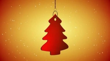 VID - Red Christmas Tree Tag - Yellow Background - ray-traced — Wideo stockowe