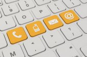 Contact us - keyboard - orange — ストック写真