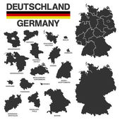 German map with regional boarders - federal states - high detail — Stock Photo