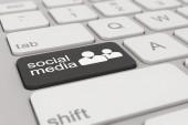 Keyboard - social media - black — Stock Photo