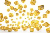 Falling percent cubes orange — Stock Photo