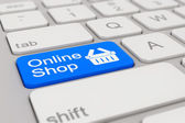 Keyboard - online shop - blue — Stock Photo