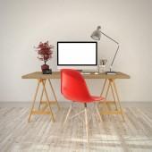 3D визуализация - современное рабочее место — Стоковое фото