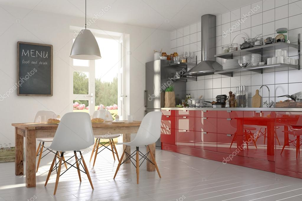 Moderne open keuken keuken en eethoek gebied — stockfoto © marog ...