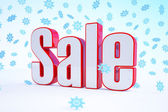3d - sale text - red-white - snowflakes — Stock Photo