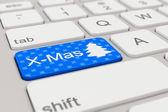 Keyboard - x-mas - blue — Stock Photo