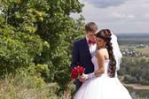 A bridegroom embraces tenderly Bride — Stock Photo