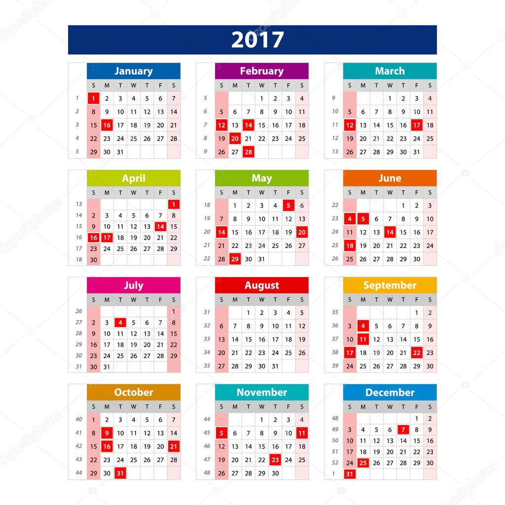 2017 Calendar holidays USA - illustration Vector template of color ...