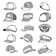 Cap set isolated on white hat icon vector baseball rap — Stock Vector #52734451