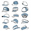 Cap set isolated on white hat icon vector baseball rap — Stock Vector #52734461