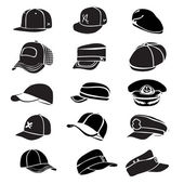 白い帽子のアイコン ベクトル野球ラップに分離されたキャップ セット — ストックベクタ