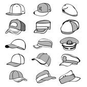 Cap set isolated on white hat icon vector baseball rap — Stock Vector