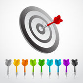 Blue Dart on Red Target Close-up vector — Stock Vector